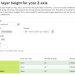 Sezione per il calcolo dell'optimal layer height