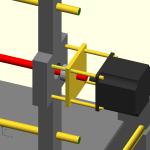 Aggancio motore asse X: in rosso una barra filettata M10 , che passa dentro due cuscinetti 608 (quindi la barra andrà tornita a 8mm per quel pezzo) che sono intrappolati poi da un lamierino